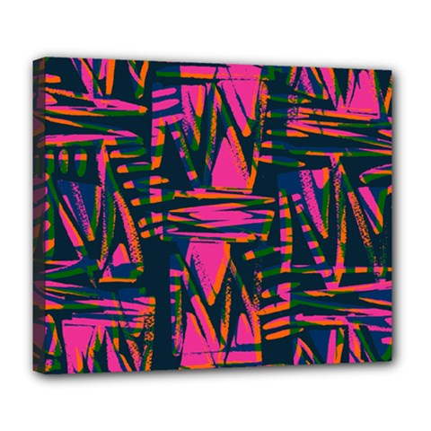 Bright Zig Zag Scribble Pink Green Deluxe Canvas 24  X 20