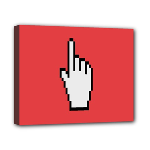 Cursor Index Finger White Red Canvas 10  X 8  by Alisyart
