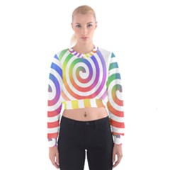 Circle Purple Blue Red Green Yellow Women s Cropped Sweatshirt by Alisyart