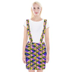 Crazy Zig Zags Blue Yellow Suspender Skirt by Alisyart