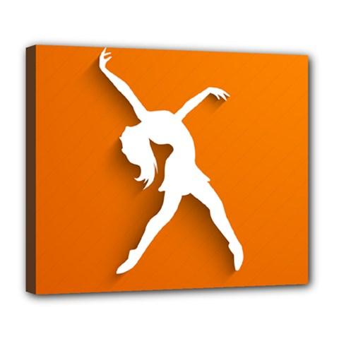 Dance Dancing Orange Girl Deluxe Canvas 24  X 20