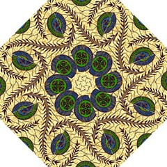Fabrick Batik Brown Blue Green Leaf Flower Floral Straight Umbrellas by Alisyart