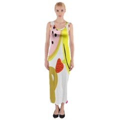 Fruit Watermelon Strawberry Banana Orange Shoes Lime Fitted Maxi Dress by Alisyart