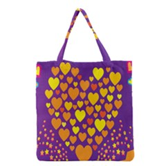 Heart Love Valentine Purple Orange Yellow Star Grocery Tote Bag by Alisyart