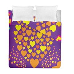 Heart Love Valentine Purple Orange Yellow Star Duvet Cover Double Side (full/ Double Size) by Alisyart