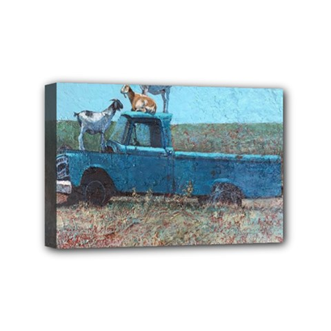 Goats On A Pickup Truck Mini Canvas 6  X 4  by theunrulyartist