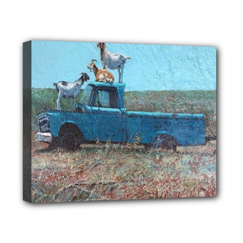 Goats On A Pickup Truck Canvas 10  X 8  by theunrulyartist