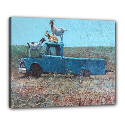 Goats On A Pickup Truck Canvas 20  X 16  by theunrulyartist