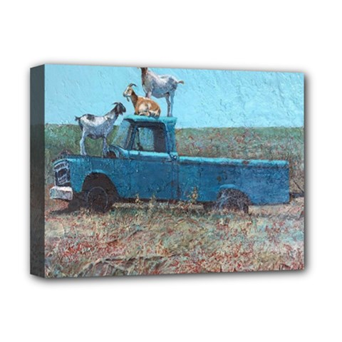 Goats On A Pickup Truck Deluxe Canvas 16  X 12   by theunrulyartist