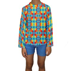 Pop Art Abstract Design Pattern Kids  Long Sleeve Swimwear by Amaryn4rt