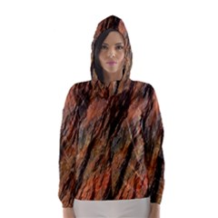 Texture Stone Rock Earth Hooded Wind Breaker (women) by Amaryn4rt