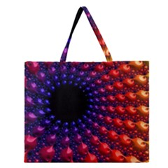 Fractal Mathematics Abstract Zipper Large Tote Bag by Amaryn4rt