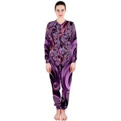 Purple Abstract Art Fractal Art Fractal Onepiece Jumpsuit (ladies)