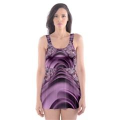 Purple Abstract Art Fractal Art Fractal Skater Dress Swimsuit by Amaryn4rt