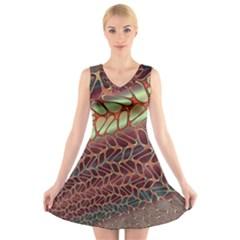 Line Dancing Gpld Net V Neck Sleeveless Skater Dress by Alisyart