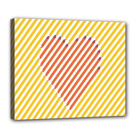 Little Valentine Pink Yellow Deluxe Canvas 24  X 20   by Alisyart