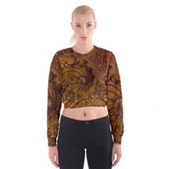 Copper Caramel Swirls Abstract Art Women s Cropped Sweatshirt