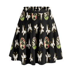 Butterfly Floral Flower Green White High Waist Skirt by Alisyart