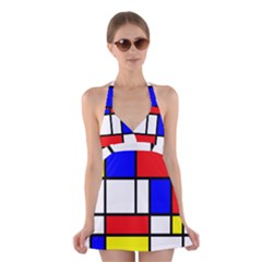 Mondrian Red Blue Yellow Halter Swimsuit Dress