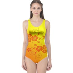 Flowers Floral Design Flora Yellow One Piece Swimsuit by Amaryn4rt