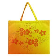 Flowers Floral Design Flora Yellow Zipper Large Tote Bag by Amaryn4rt
