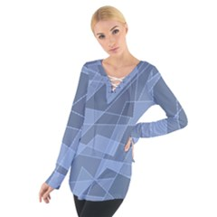 Lines Shapes Pattern Web Creative Women s Tie Up Tee