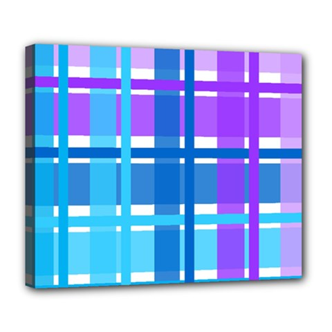 Gingham Pattern Blue Purple Shades Deluxe Canvas 24  X 20