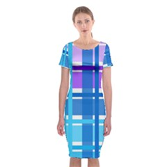 Gingham Pattern Blue Purple Shades Classic Short Sleeve Midi Dress
