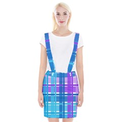Gingham Pattern Blue Purple Shades Suspender Skirt