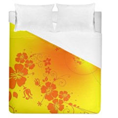 Flowers Floral Design Flora Yellow Duvet Cover (queen Size) by Amaryn4rt