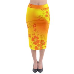 Flowers Floral Design Flora Yellow Midi Pencil Skirt by Amaryn4rt