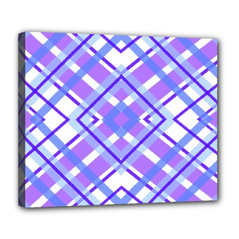 Geometric Plaid Pale Purple Blue Deluxe Canvas 24  X 20   by Amaryn4rt
