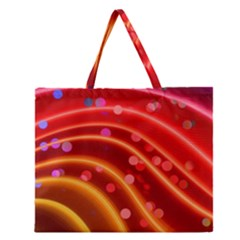 Bokeh Lines Wave Points Swing Zipper Large Tote Bag by Amaryn4rt