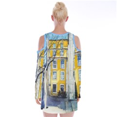 Velvet Long Sleeve Shoulder Cutout Dress