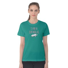 Green I Am A Catholic  Women s Cotton Tee by FunnySaying