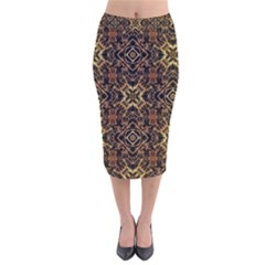 Tribal Geometric Print Velvet Midi Pencil Skirt by dflcprintsclothing