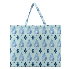 Ace Hibiscus Blue Diamond Plaid Triangle Zipper Large Tote Bag by Alisyart
