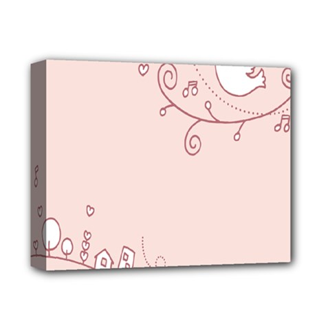 Bird City Sing Pink Notes Music Deluxe Canvas 14  X 11  by Alisyart