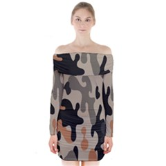 Camouflage Army Disguise Grey Orange Black Long Sleeve Off Shoulder Dress by Alisyart