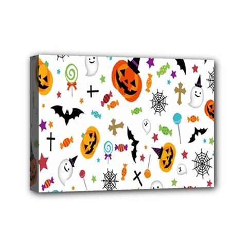 Candy Pumpkins Bat Helloween Star Hat Mini Canvas 7  X 5  by Alisyart