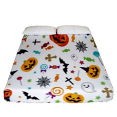 Candy Pumpkins Bat Helloween Star Hat Fitted Sheet (queen Size) by Alisyart