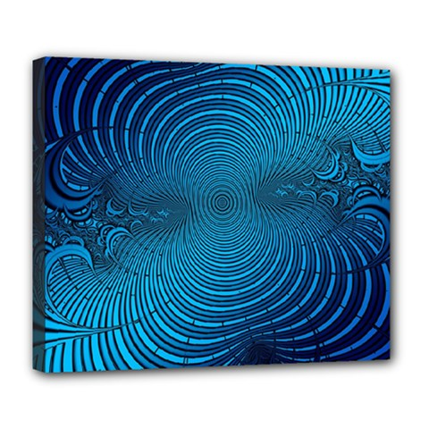 Abstract Fractal Blue Background Deluxe Canvas 24  X 20   by Amaryn4rt