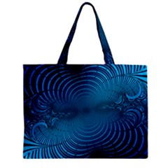 Abstract Fractal Blue Background Zipper Mini Tote Bag by Amaryn4rt