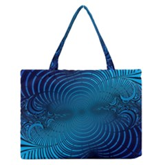 Abstract Fractal Blue Background Medium Zipper Tote Bag by Amaryn4rt
