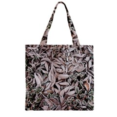 Ice Leaves Frozen Nature Zipper Grocery Tote Bag by Amaryn4rt