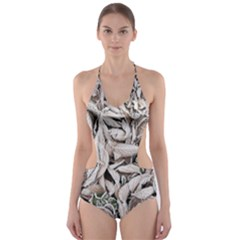 Ice Leaves Frozen Nature Cut Out One Piece Swimsuit