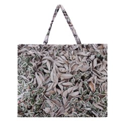 Ice Leaves Frozen Nature Zipper Large Tote Bag