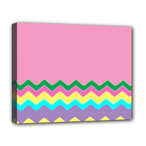 Easter Chevron Pattern Stripes Deluxe Canvas 20  X 16