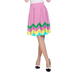 Easter Chevron Pattern Stripes A-Line Skirt by Amaryn4rt