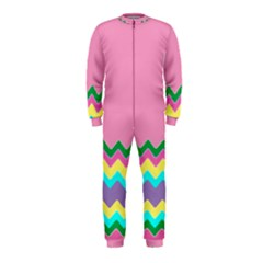 Easter Chevron Pattern Stripes OnePiece Jumpsuit (Kids) by Amaryn4rt
